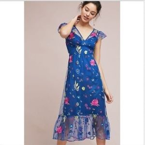 NEW Anthropologie Embroidered Topaz Dress